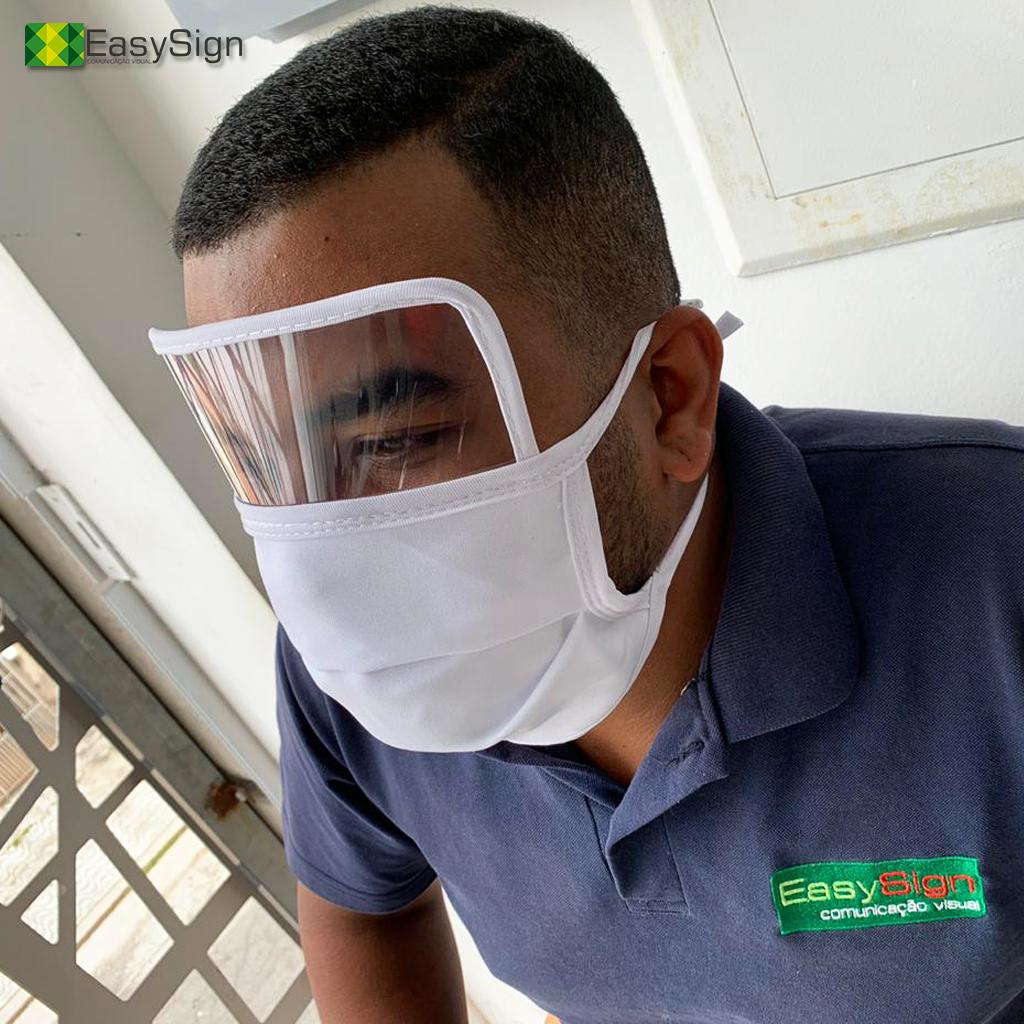 Máscara tecido e visor