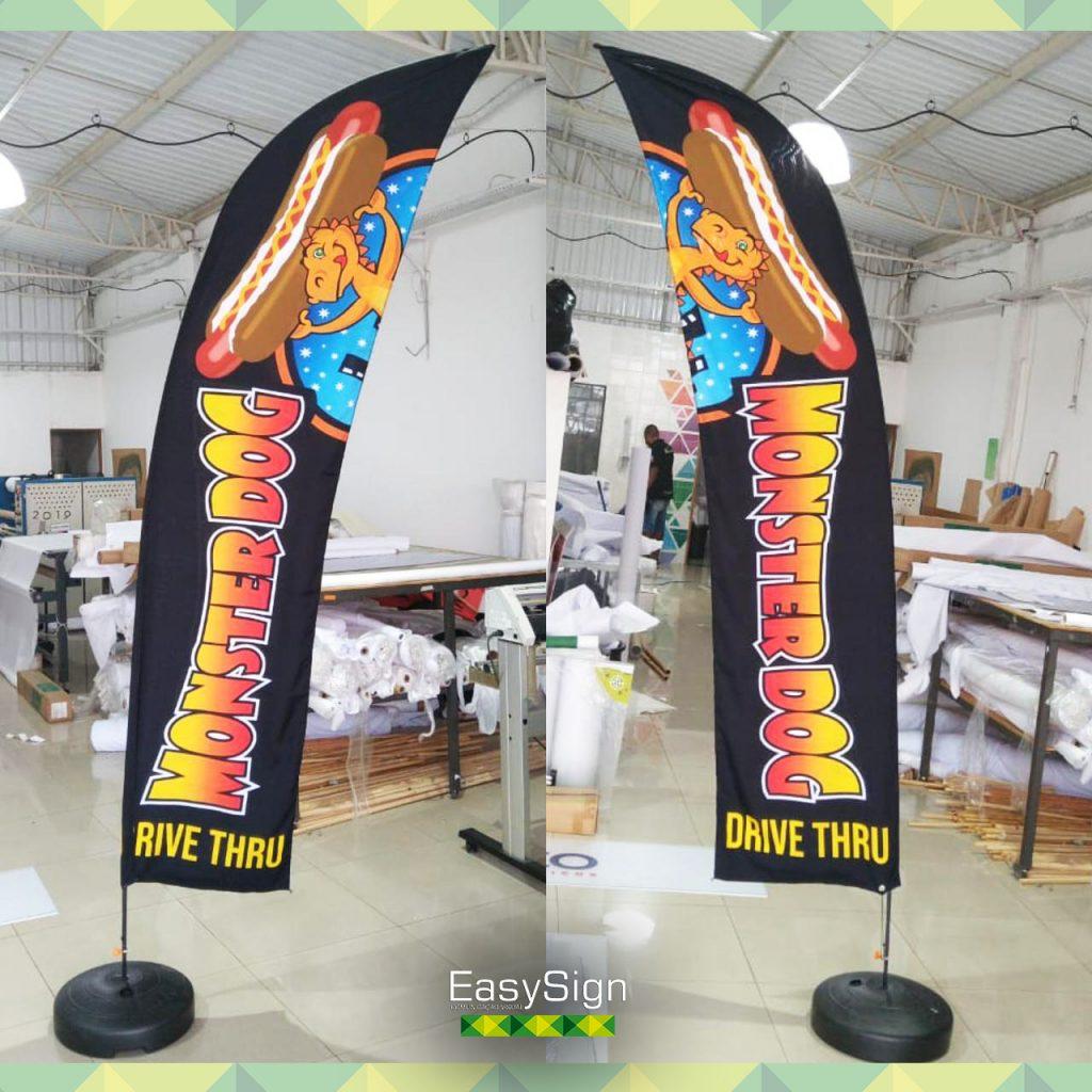 wind banner dupla face base reta
